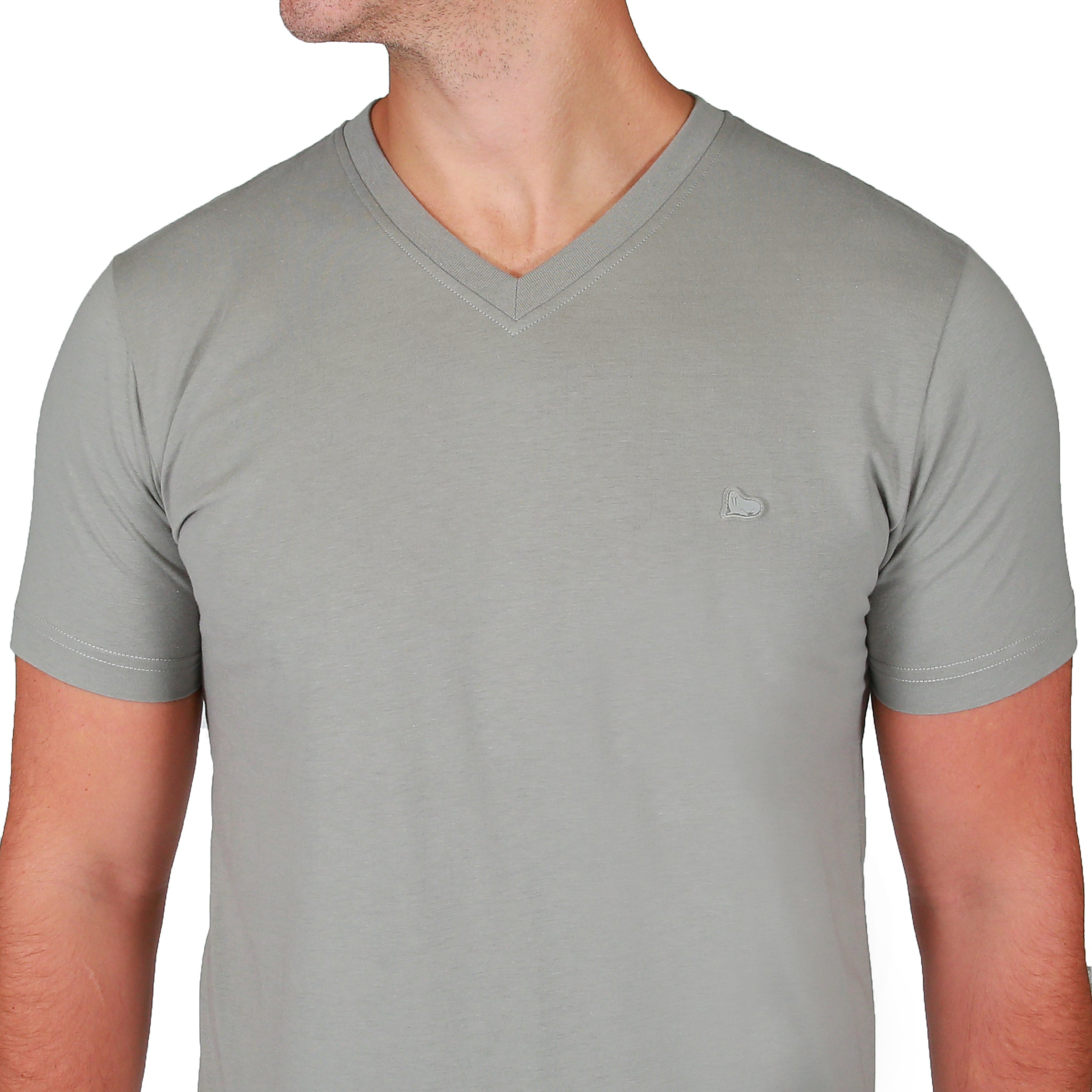 Theo V-Neck Tee Shirt - Neutral Grey by  Walrus Apparel