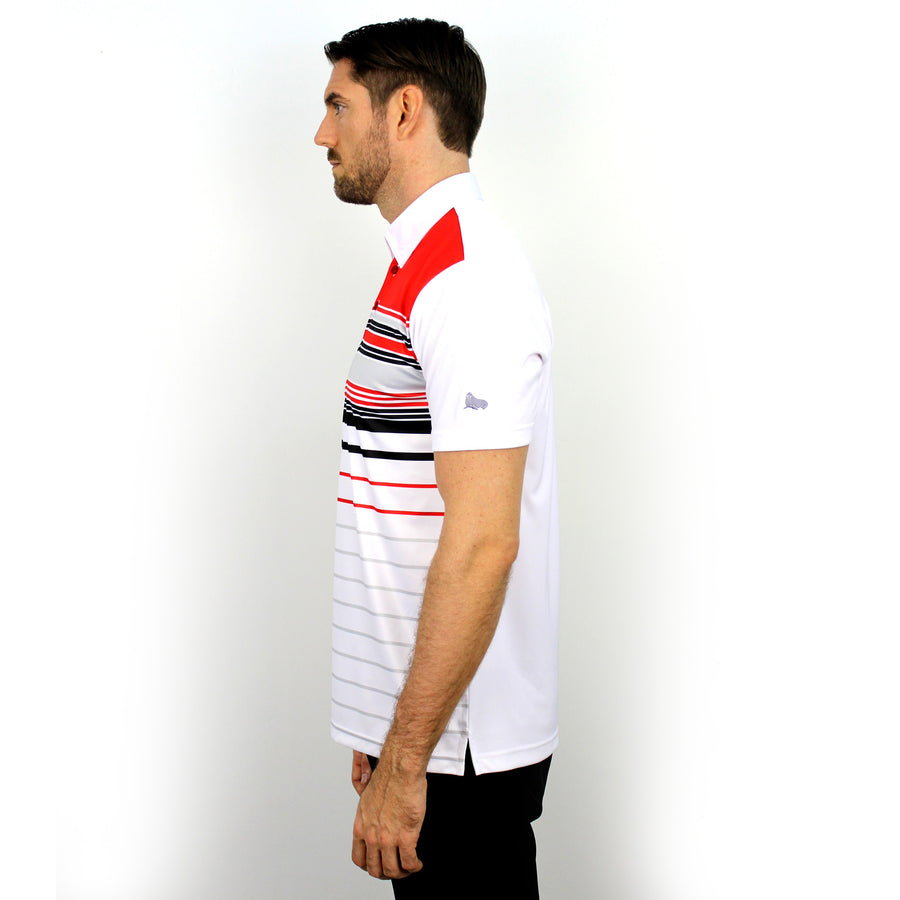 Walrus Frank Colour Stripe Polo Shirt Fiesta Red