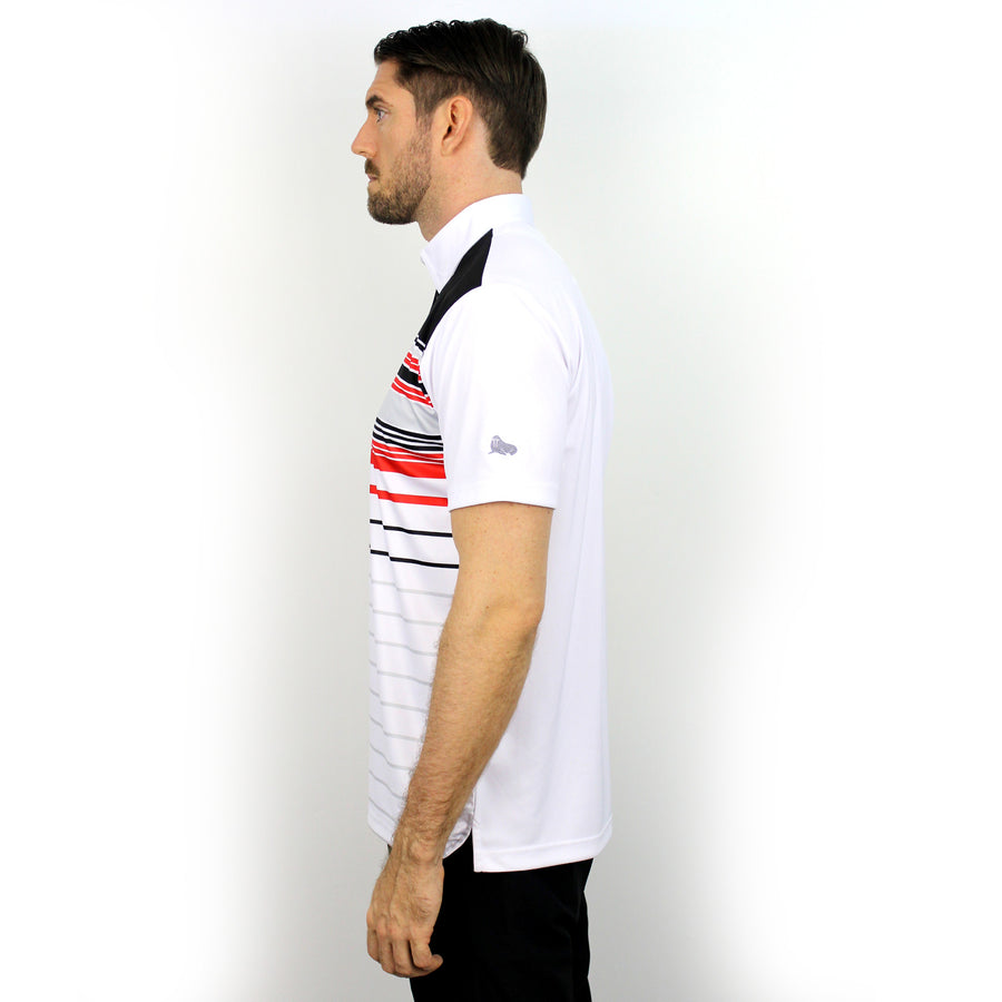 Walrus Frank Colour Stripe Polo Shirt Black