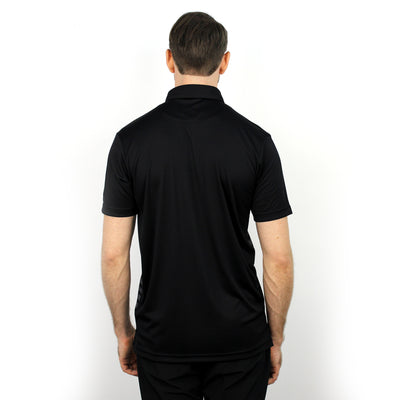 Walrus Colin Chest Stripe Golf Polo Shirt Black