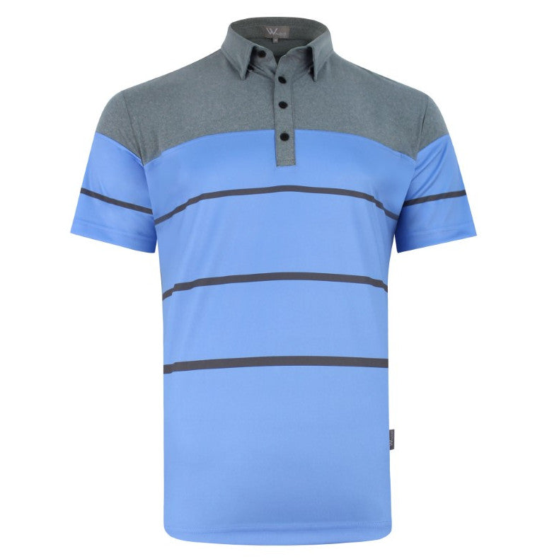 Arrow Colourblock Stripe Mens Golf Polo Shirt - Blue