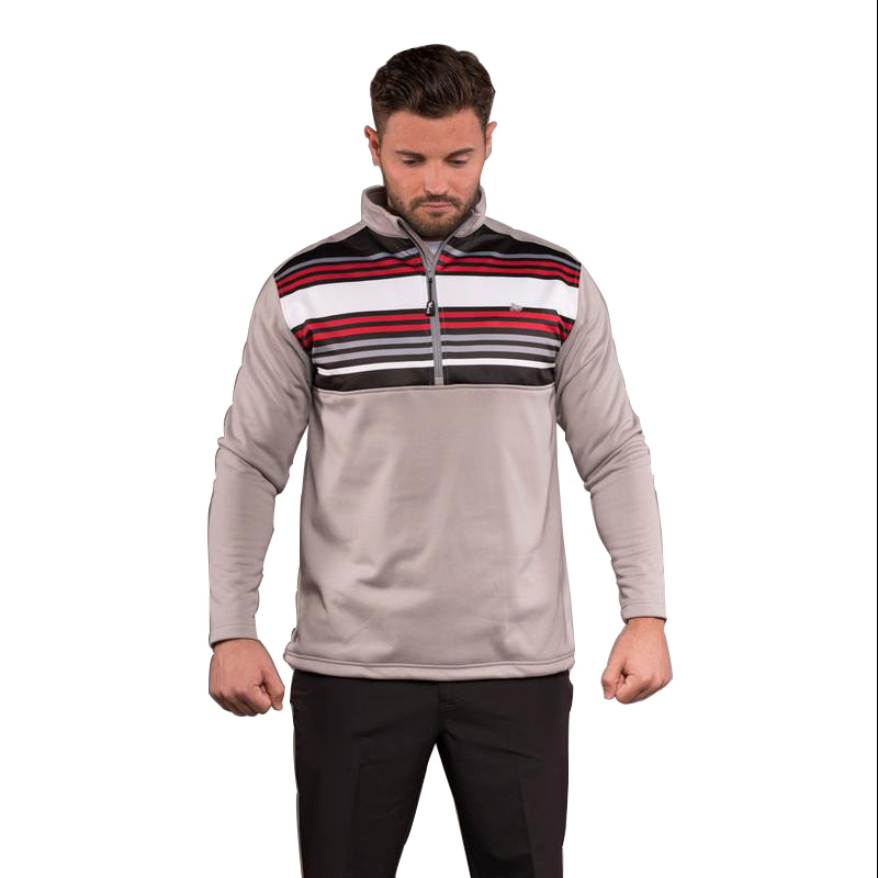 Bradley 1/2 Zip Stripe Pullover - Neutral Grey