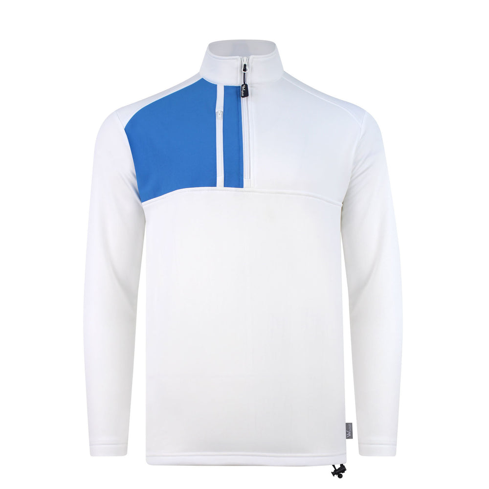 Brody Chest block mens golf midlayer - White