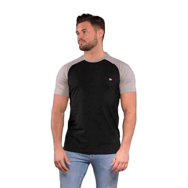 Walrus Morgan Raglan Crew Neck Tee- Black/Neutral Grey