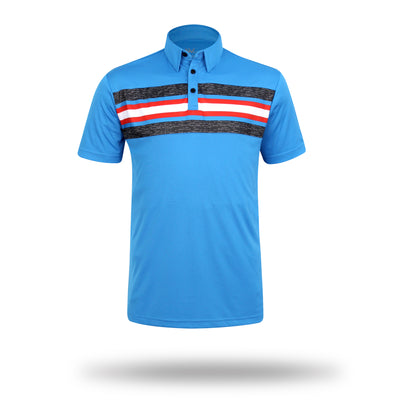 Walrus Benjamin Chest Block Stripe Golf Polo Shirt - Hawaii Blue