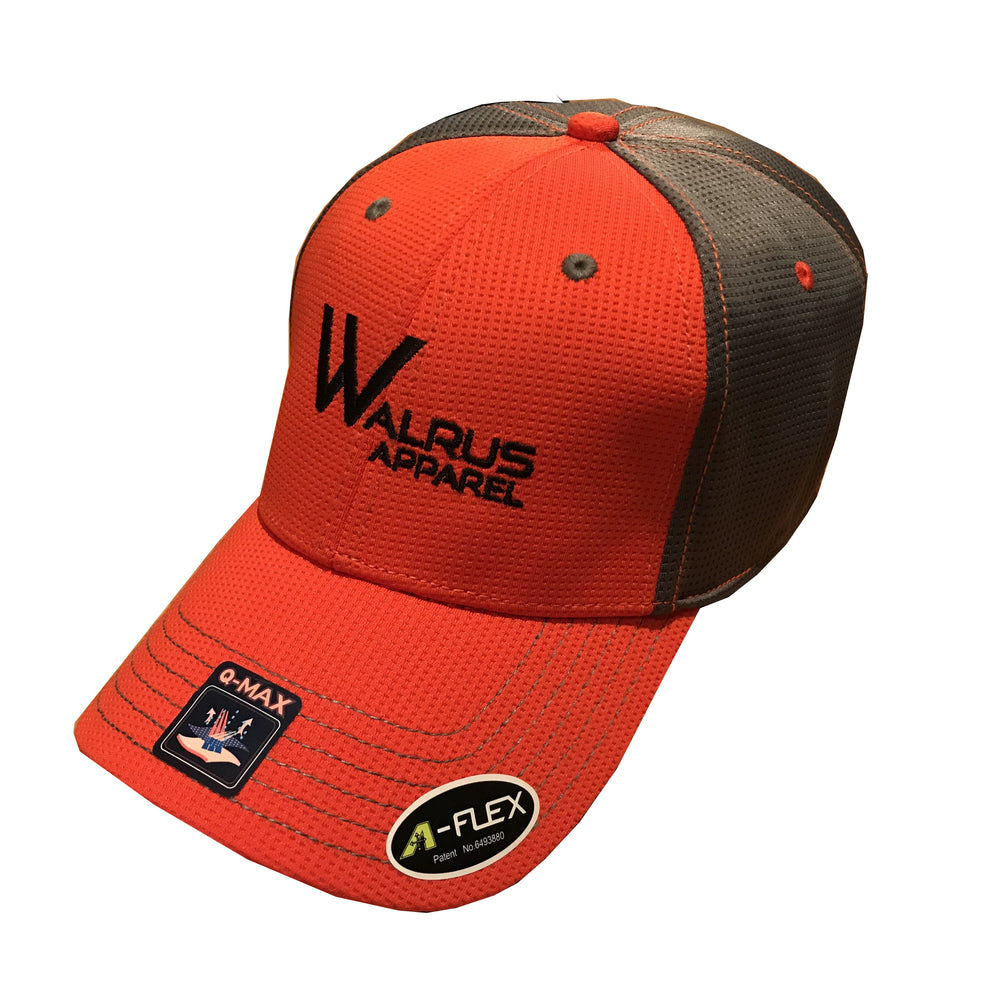 Flexfit Mesh Golf Caps - Orange/Grey