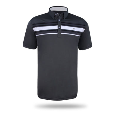 Walrus Mason Bold Stripe Polo Shirt - Dark Charcoal