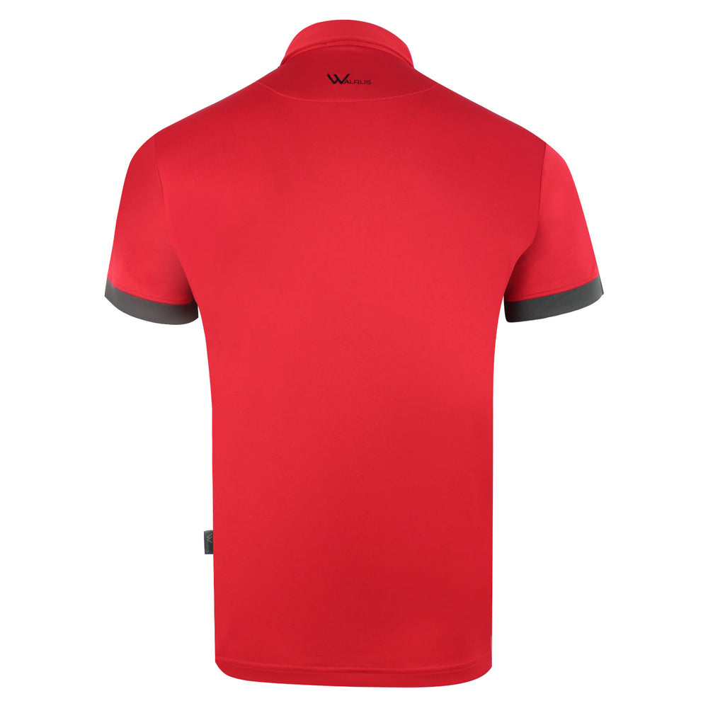 Walrus Apparel Casey Bold Chest Stripe Polo Red Back View