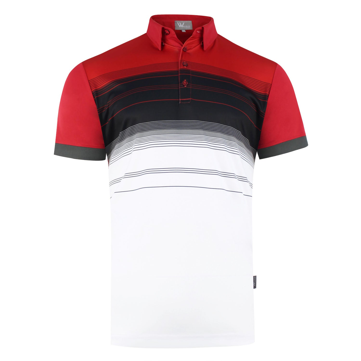 Casey Bold Chest Stripe Mens Golf Polo Shirt - Red by  Walrus Apparel