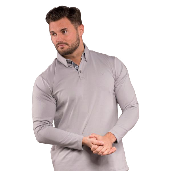 William Long Sleeve Golf Polo Shirt - Neutral Grey