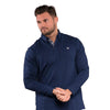 Walrus Apparel William Long Sleeve Polo Shirt - Navy Peony
