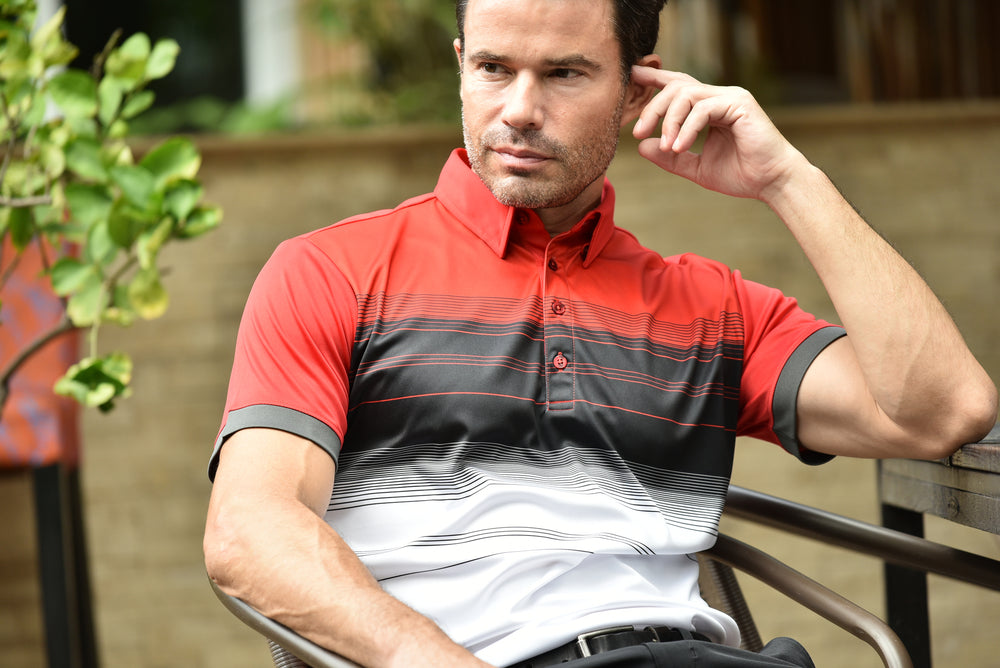Casey Bold Chest Stripe Mens Golf Polo Shirt - Red