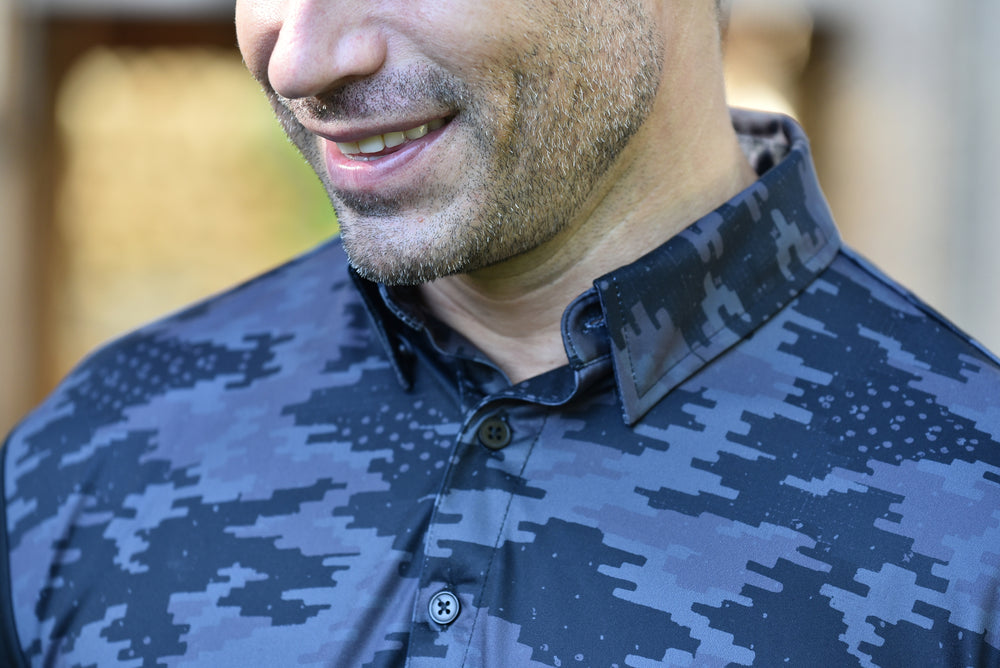 The Maverick Full Camo Mens Golf Polo Shirt - Black