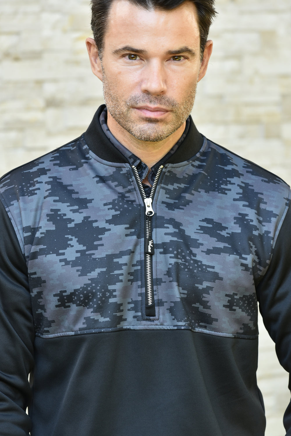 Raynor Camo Chest Mens Golf Midlayer Pullover - Black