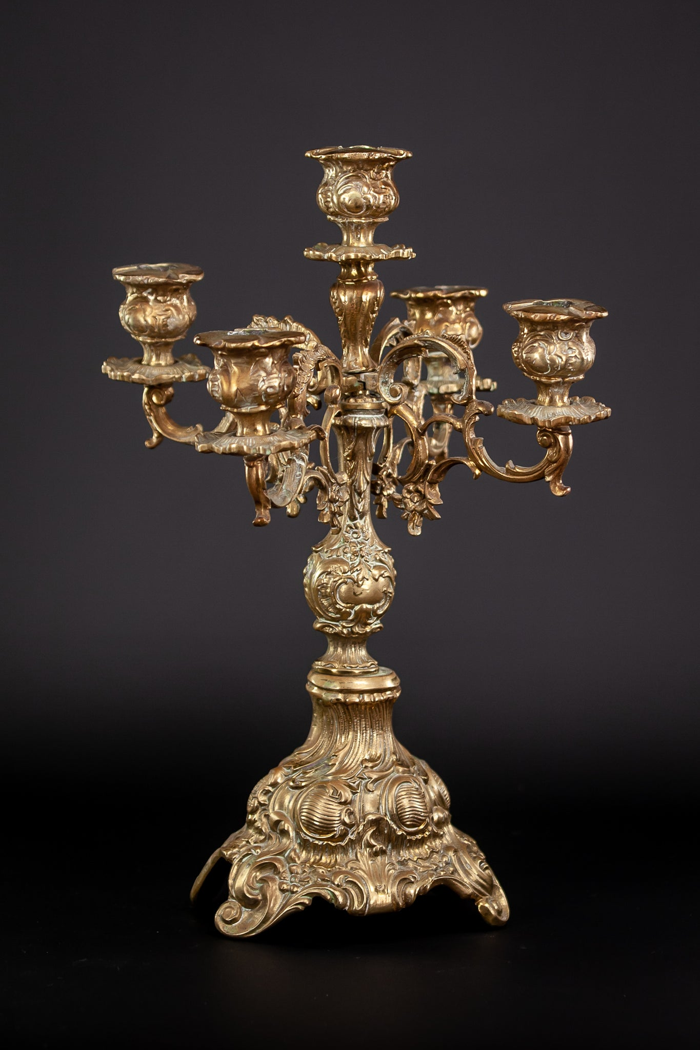 Candelabra Pair Gilded Bronze Baroque Gilt 5 Lights 15""