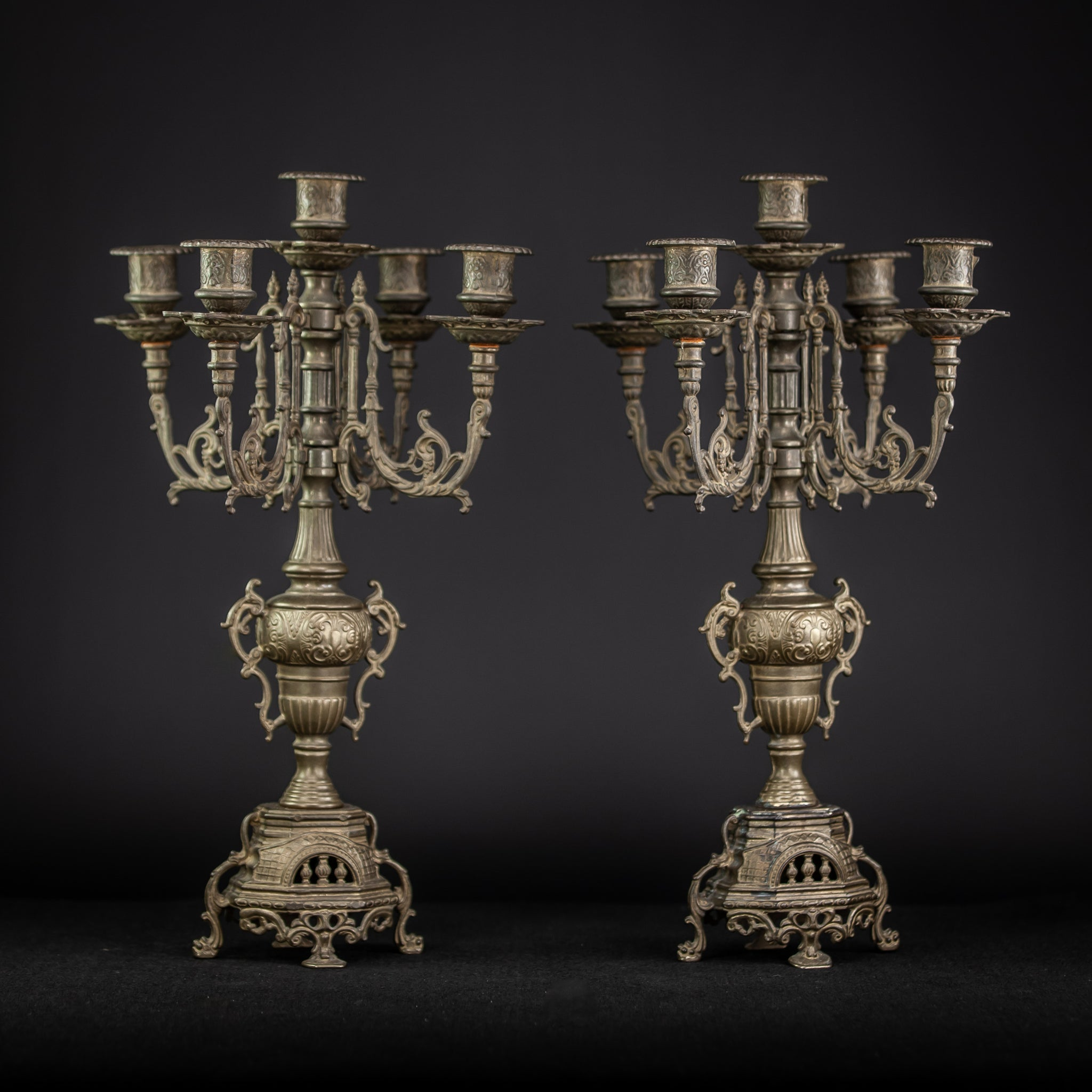 Candelabra Pair Bronze Baroque 5 Arms Lights Tier 16""