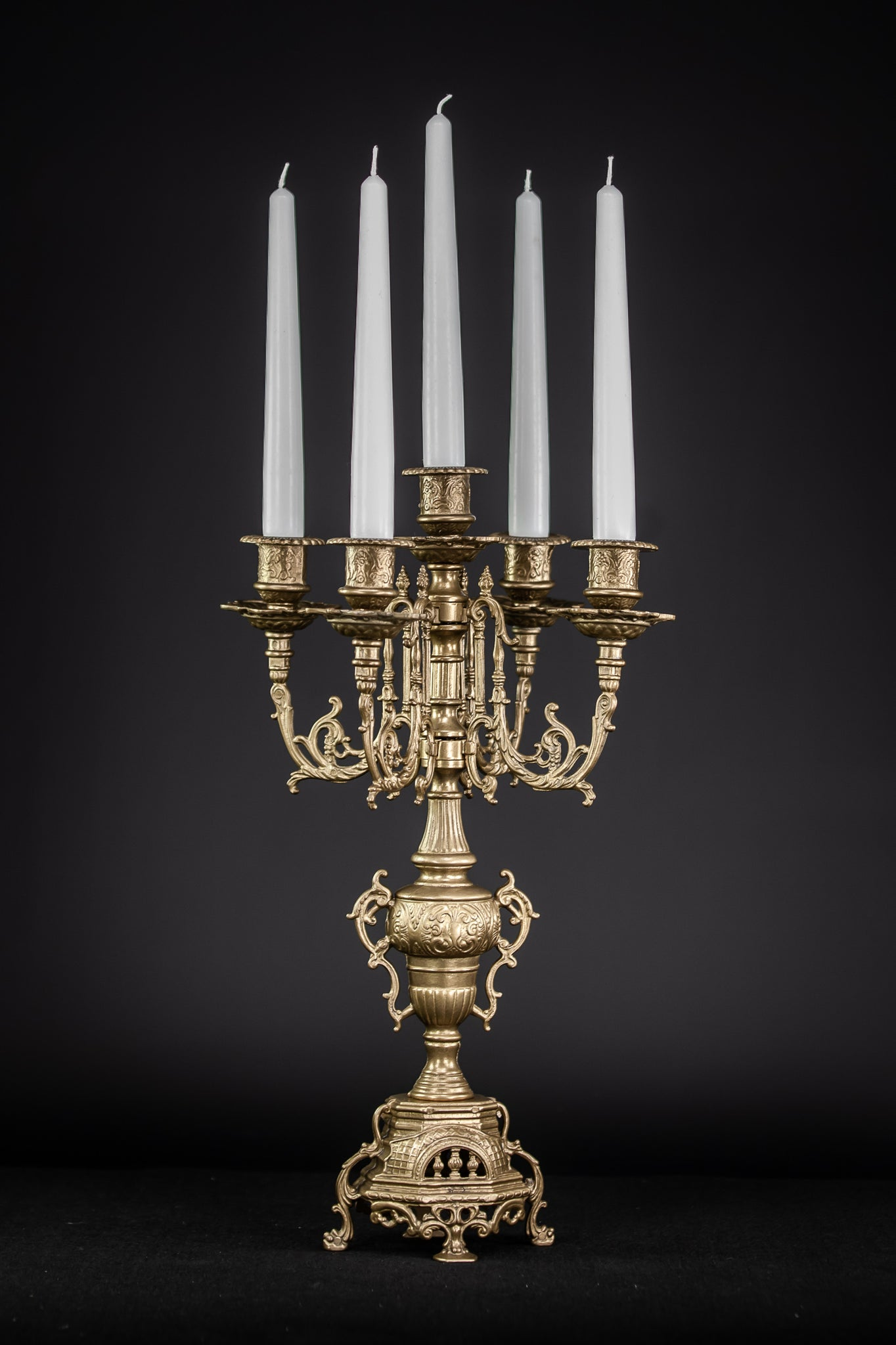 Candelabra Bronze Baroque 5 Arms Lights Tier 16.5""