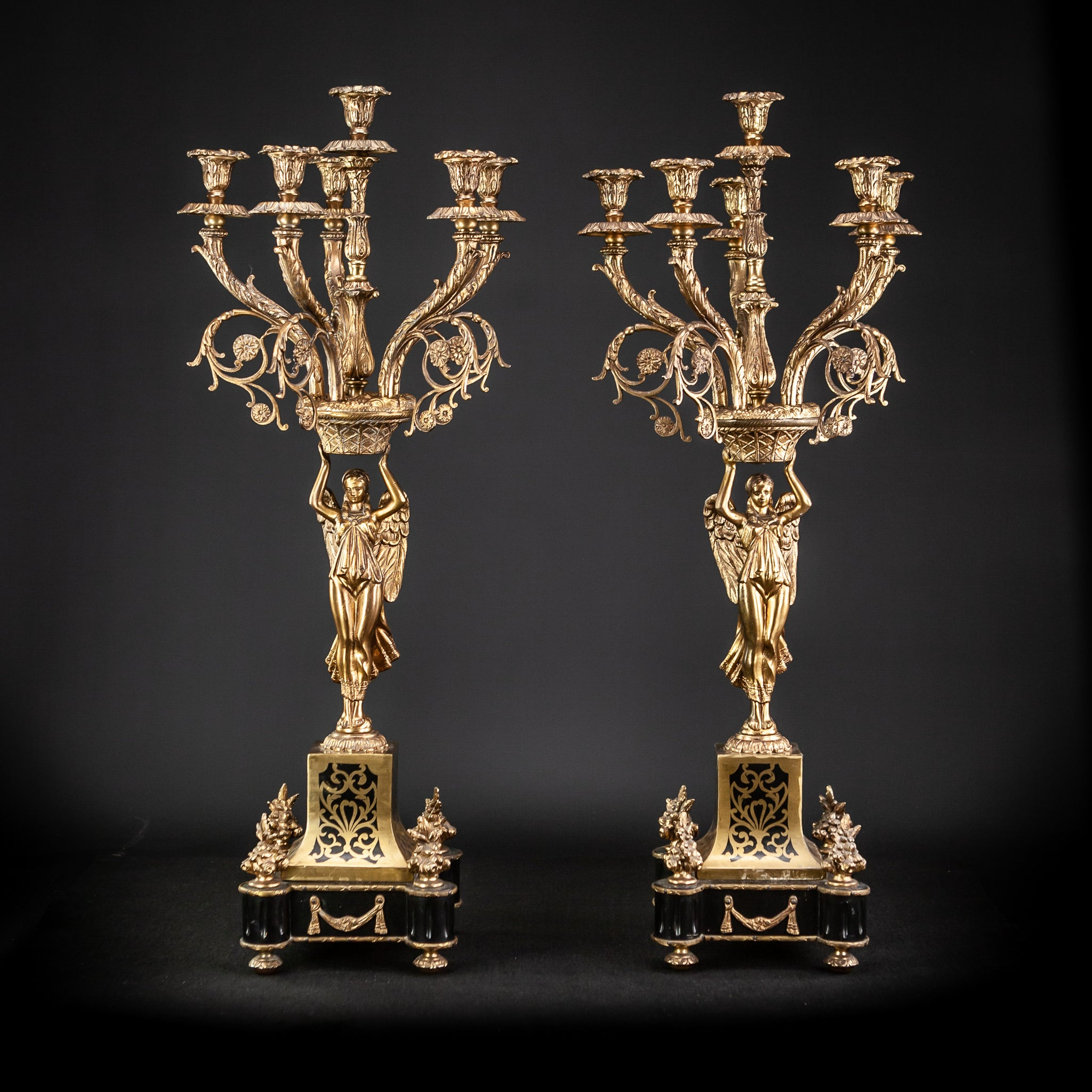 Pair of Large Bronze Candelabras with Angels | 20.5""