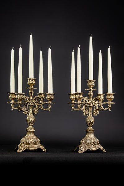 Pair of Gilded Bronze Baroque Candelabras | 15.4""
