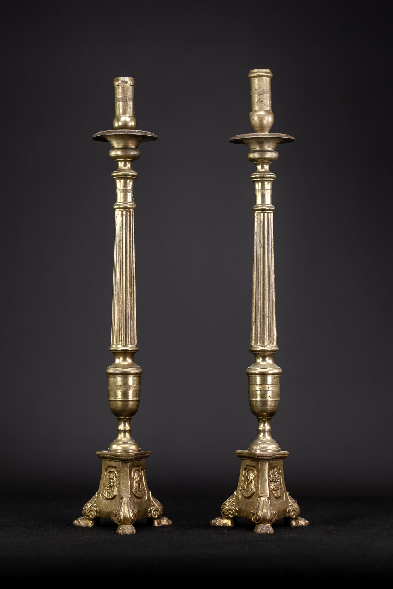 Candlesticks Pair French Brass Candle Holders 1800s 25""