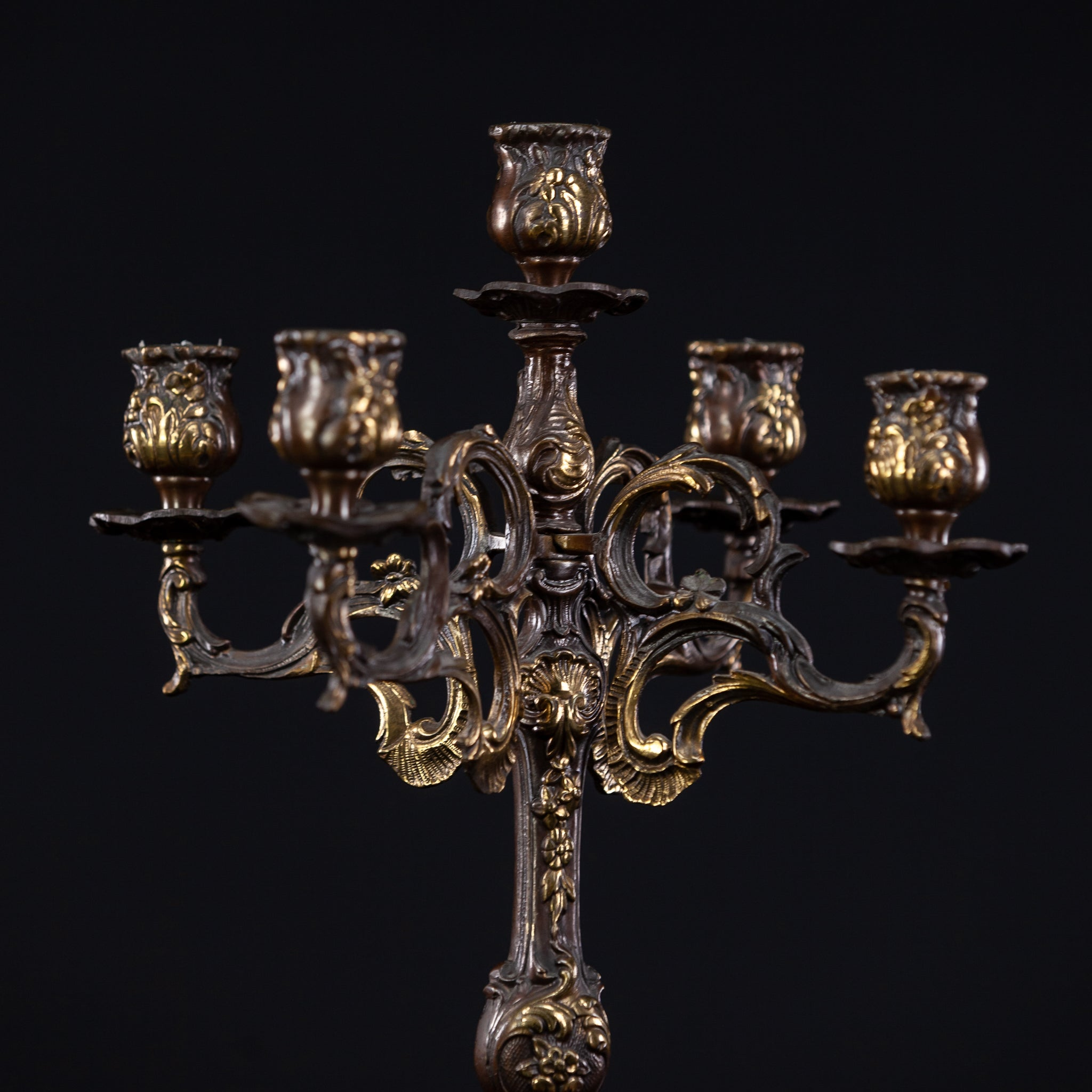 Candelabra Bronze Gilded Brass French 5 Lights 14.6""