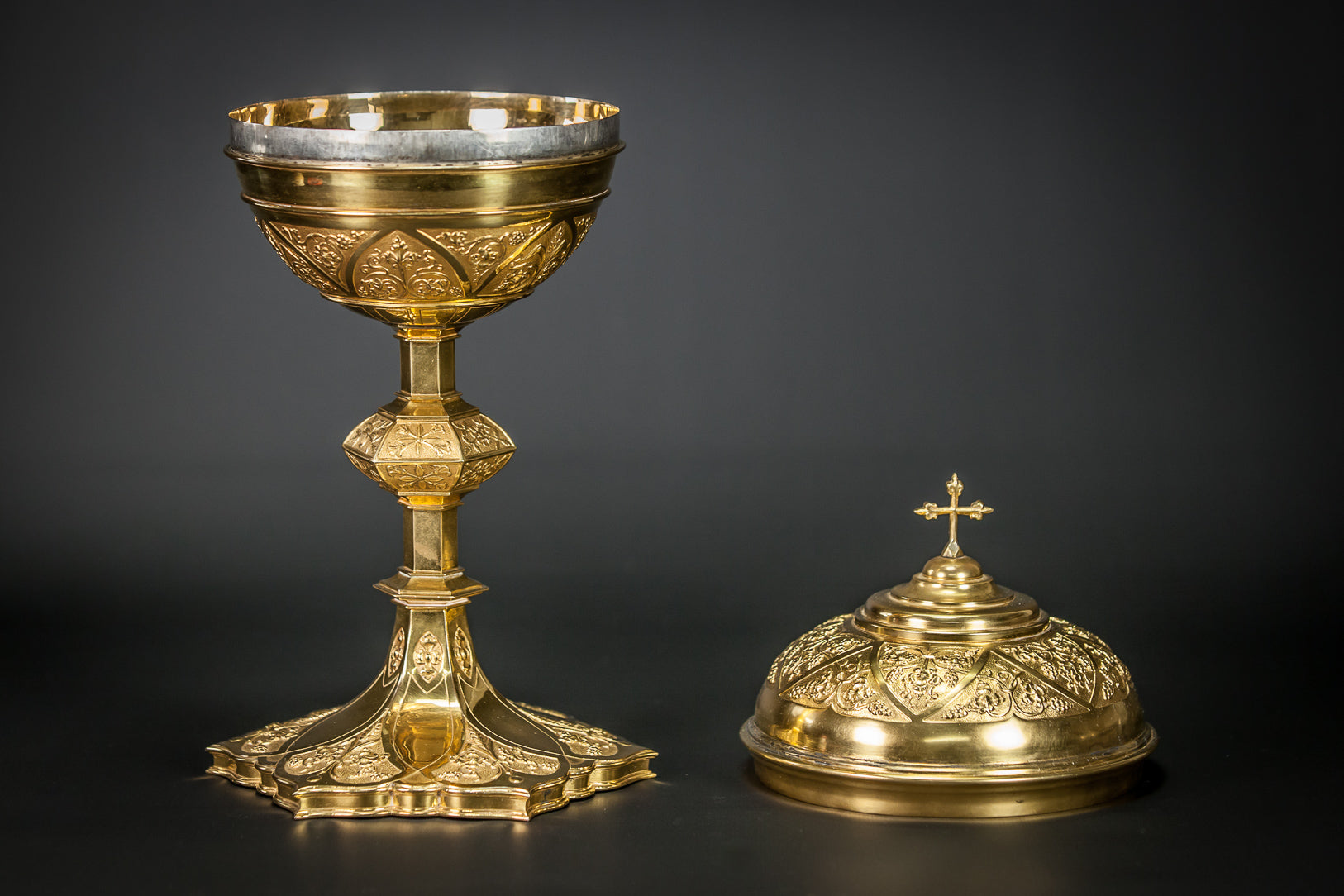Ciborium Gilded French Vessel Gifted Inscription 13""