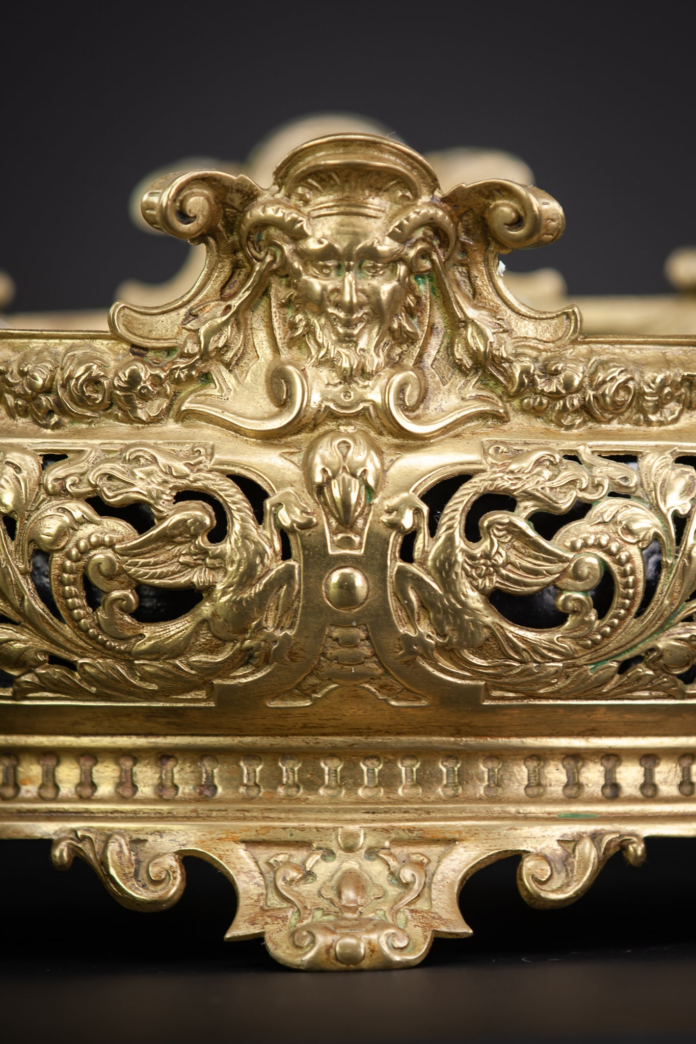 Jardiniere Gilded Bronze Brass Baroque Planter 15.4""
