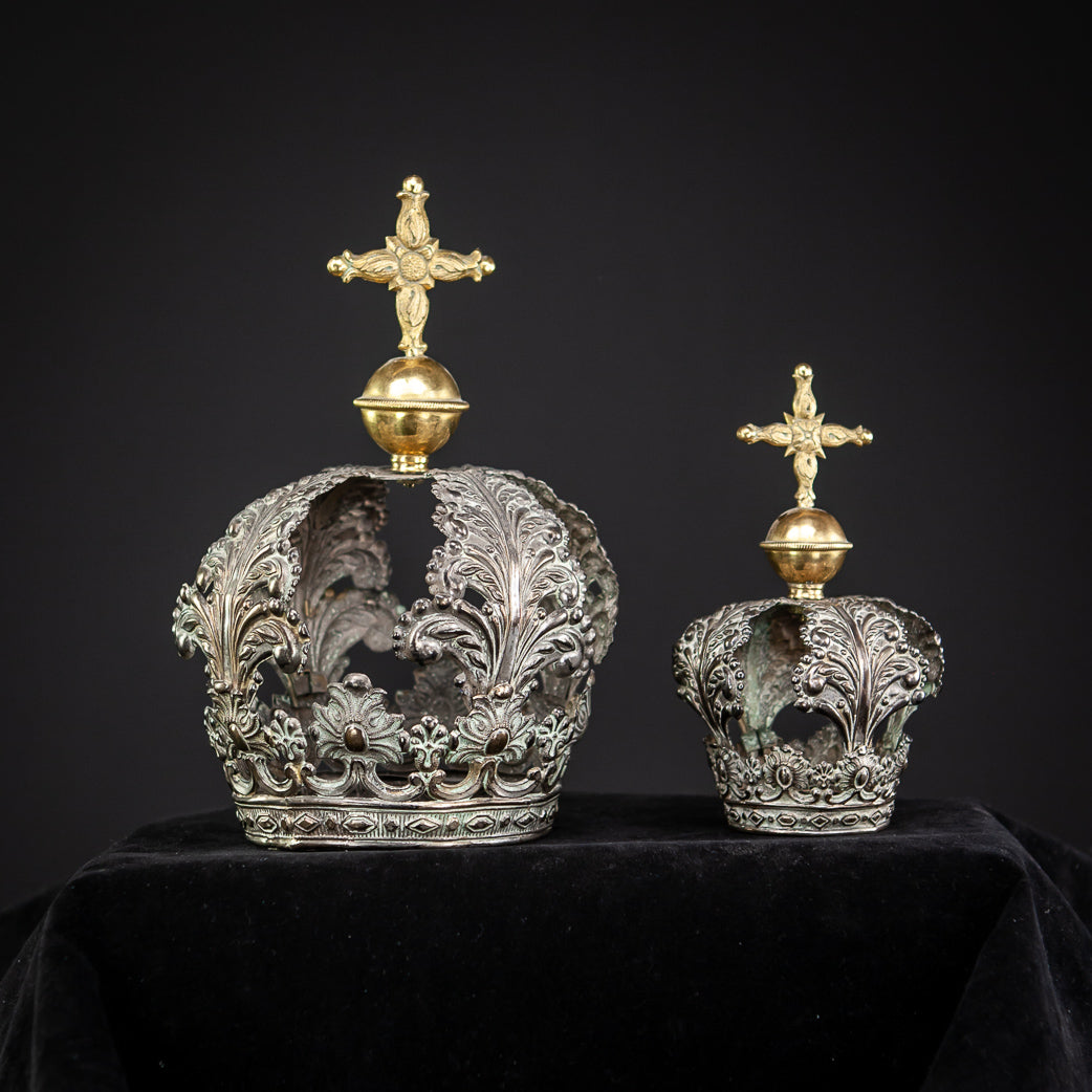 Antique Solid Silver Crown for Mary / Jesus 5.3""