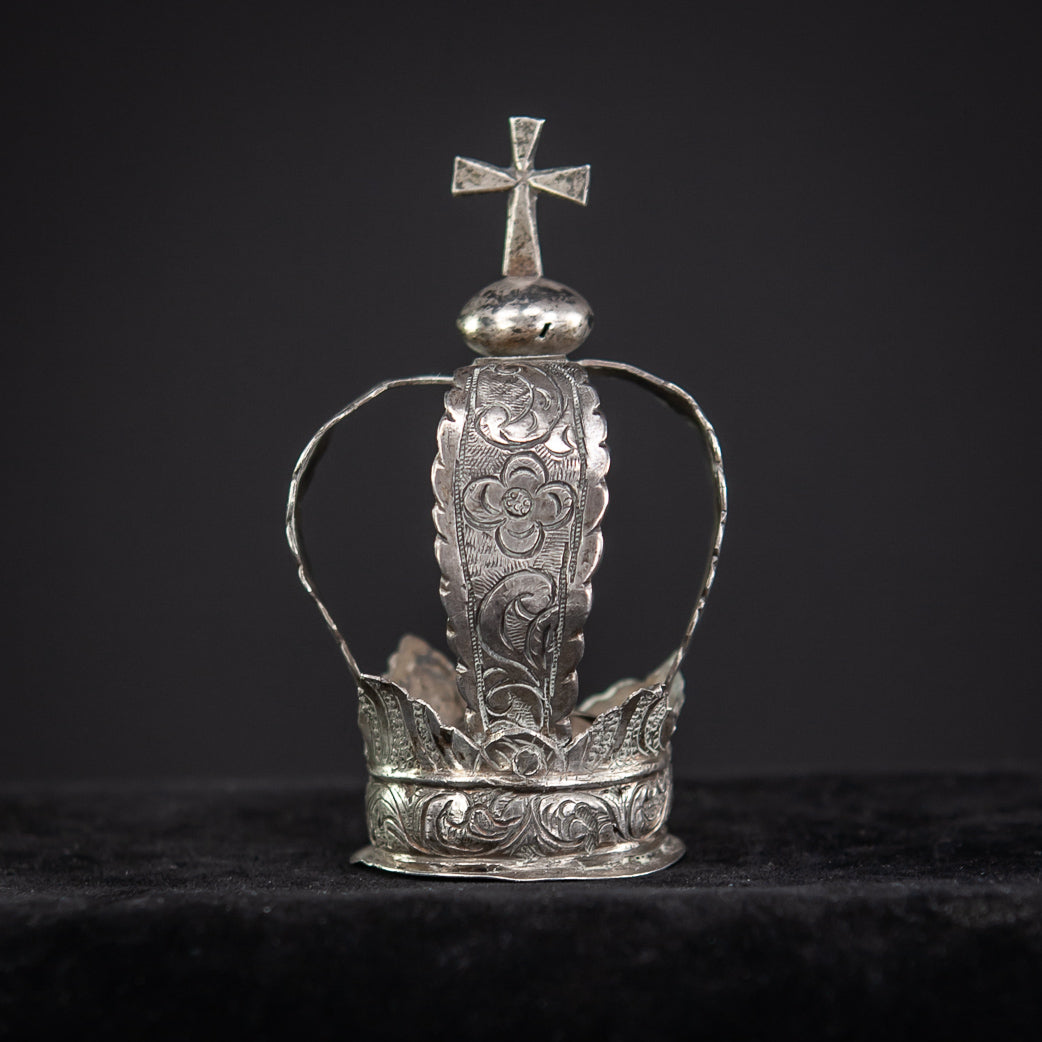 Crown Solid Sterling Silver 1700's / 1800's 3.3""