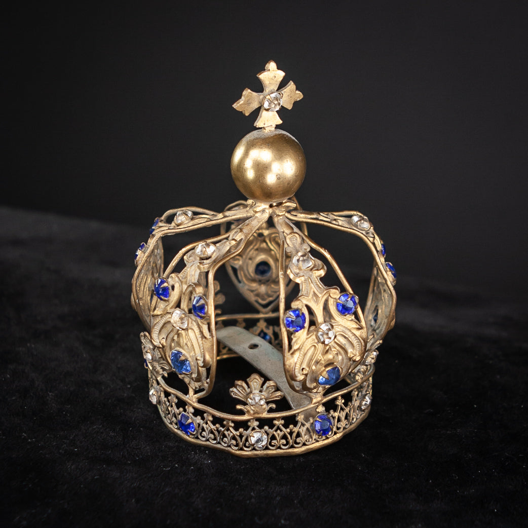 Crown Brass Madonna Santo Cut Stones 3.5""