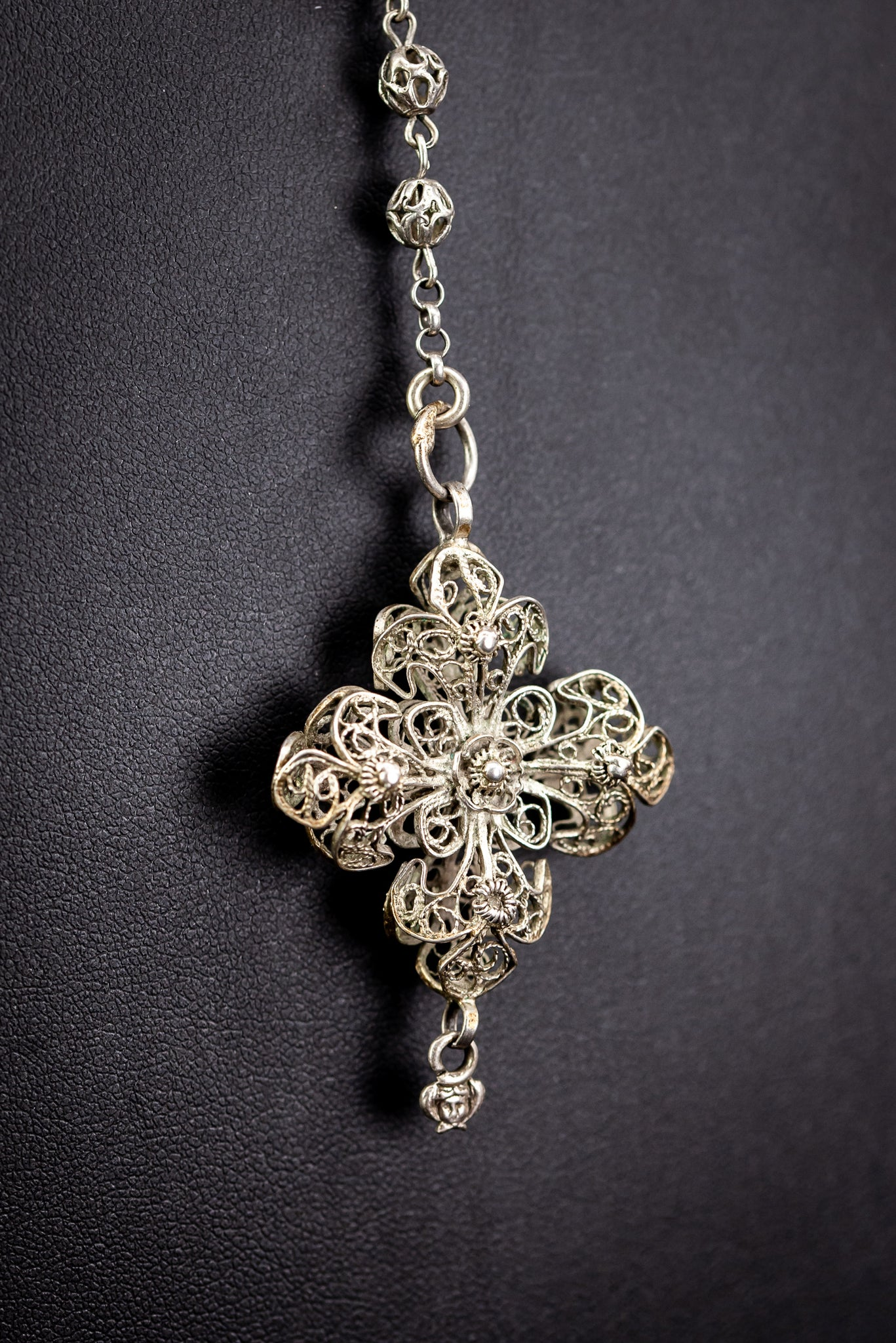 Rosary Solid Sterling Silver Fine FIligree 18.5""