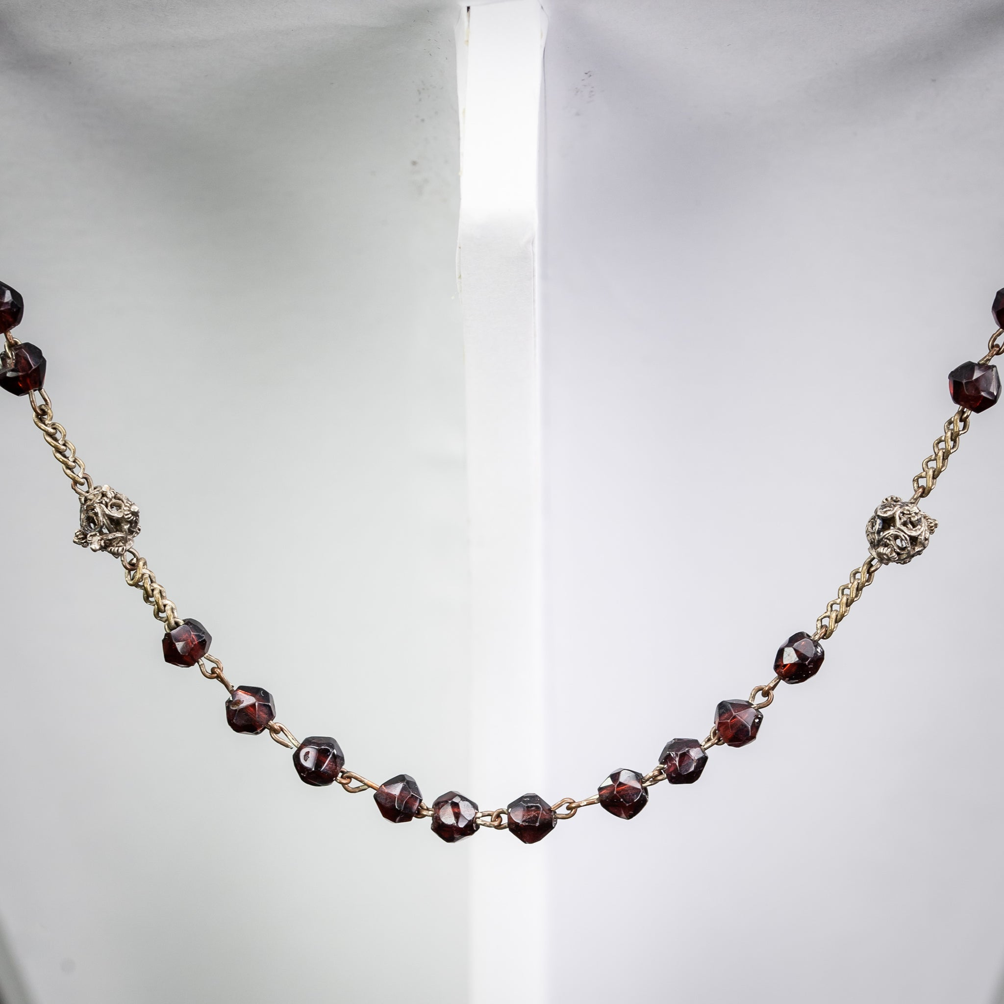 Rosary Solid Sterling Silver Red Garnets 20""