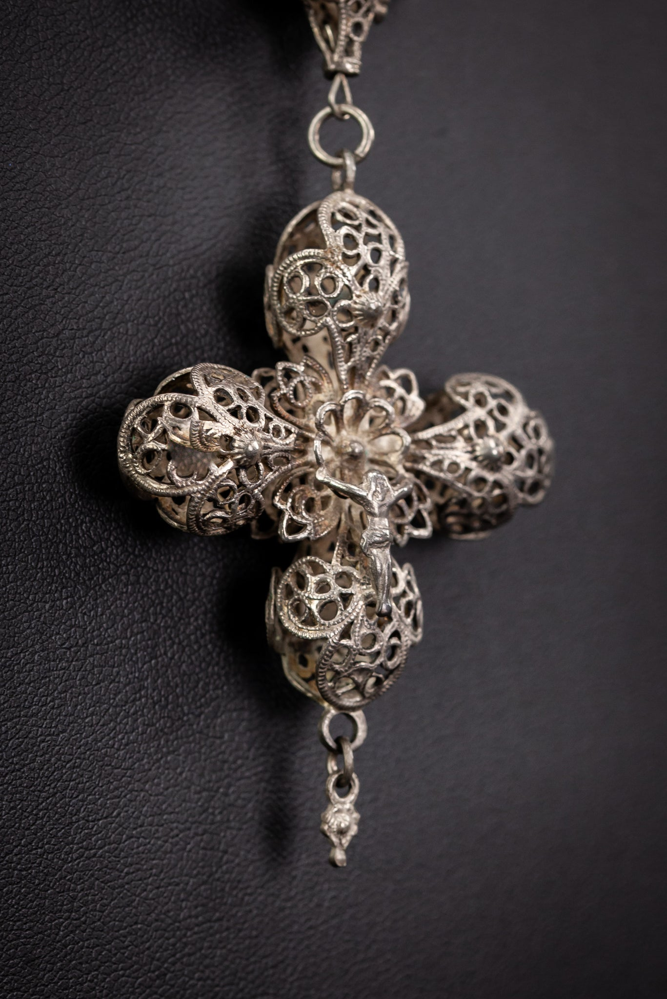 Rosary Solid Sterling Silver Fine FIligree 22.4""