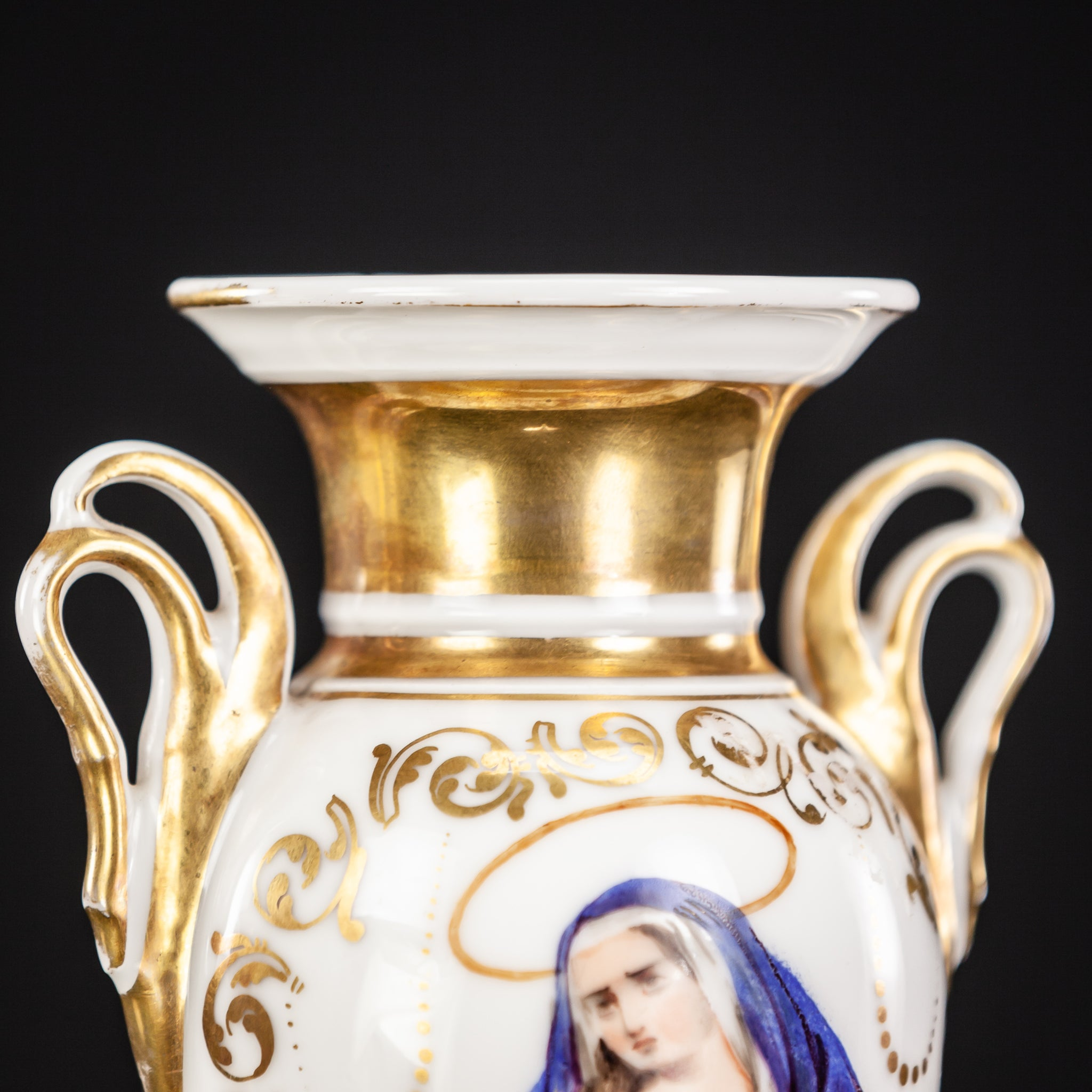 Porcelain Vase with Virgin Mary Painting