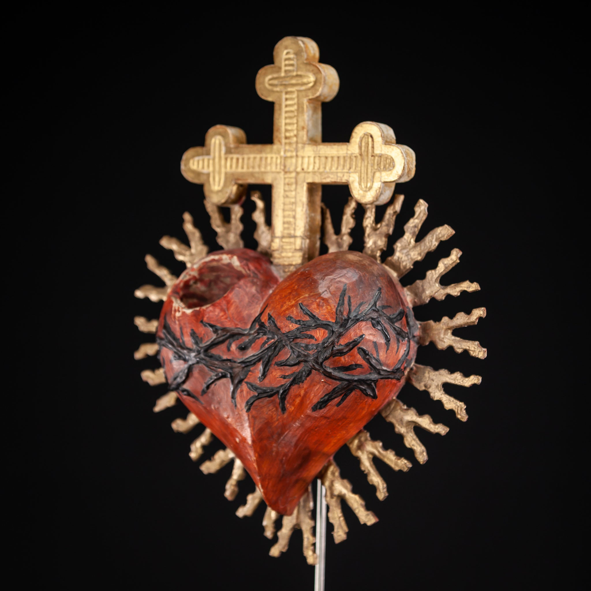 Sacred Heart of Jesus 1800s  Wood Carving 13.2""