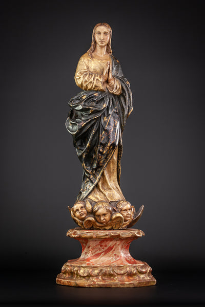 Virgin Mary Immaculate Conception 17th Century Wood 21""
