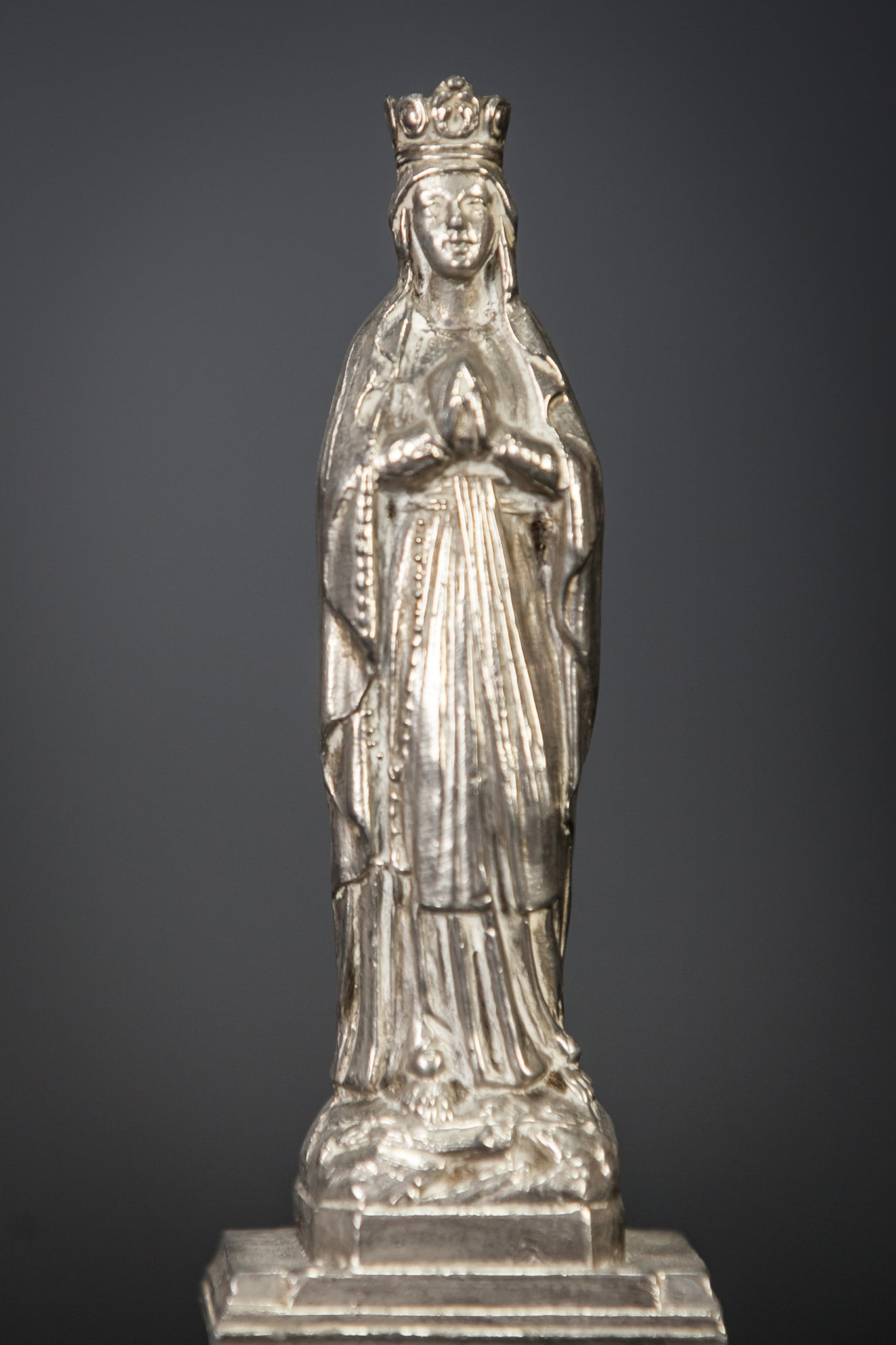 Our Lady of Lourdes Silvered Figurine