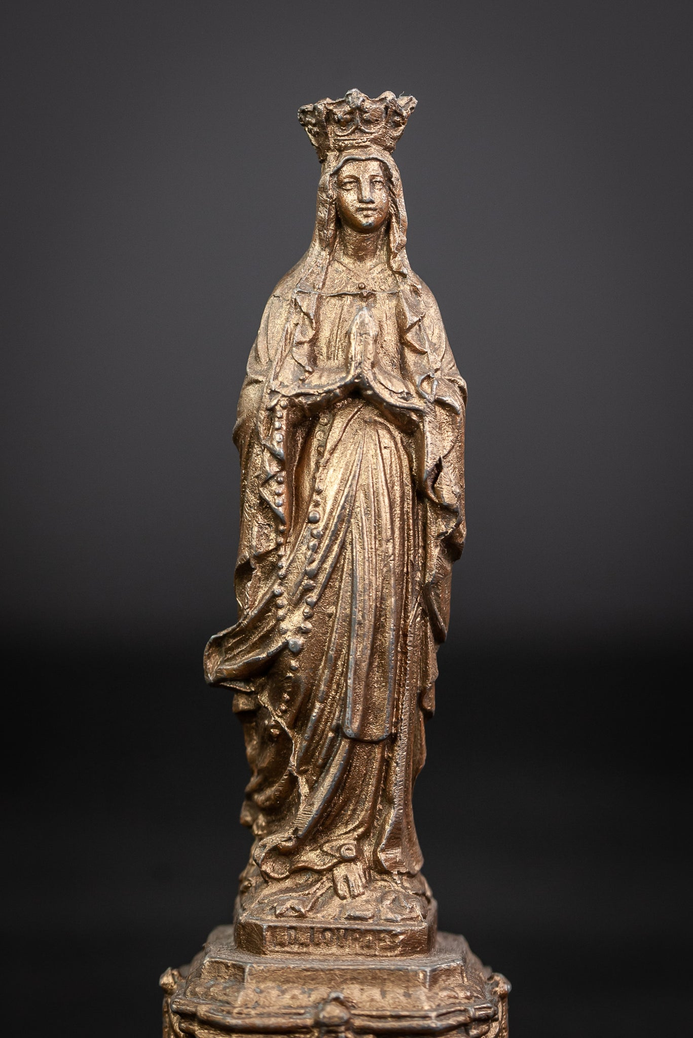 Our Lady of Lourdes Gilded Metal Figurine