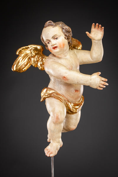 Angel 1700s Wood Carving Statue 16""
