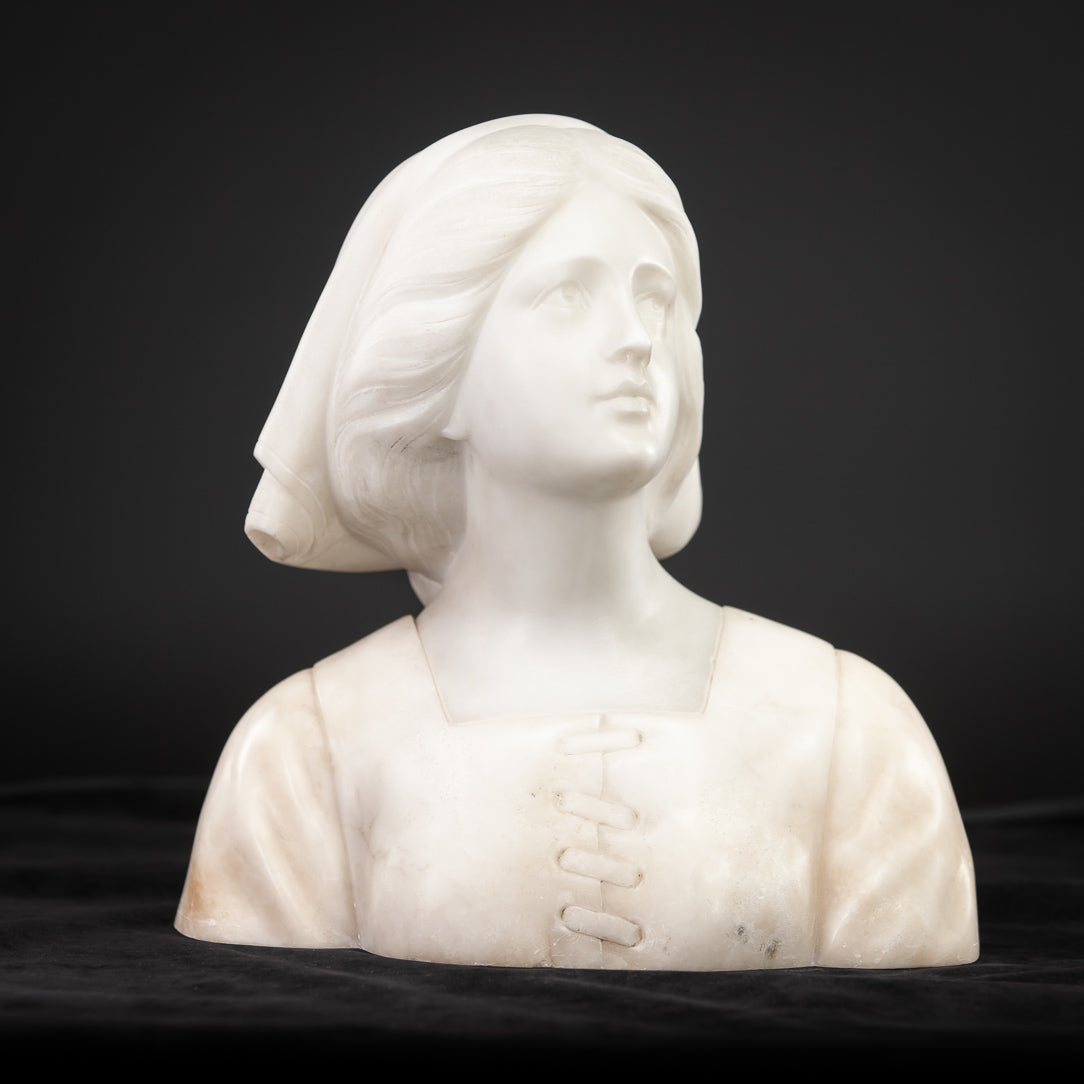 Copy of Joan of Arc Alabaster Marble Carved Statue 22""