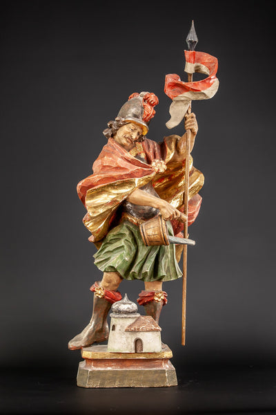 Saint Florian Wooden Antique Statue 25""