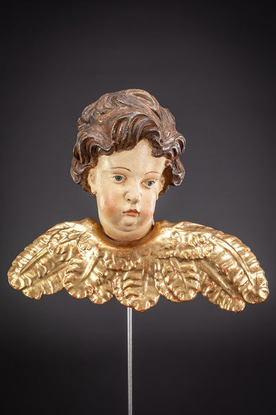 Angel 1800s Wood Carving Statue 10.6""