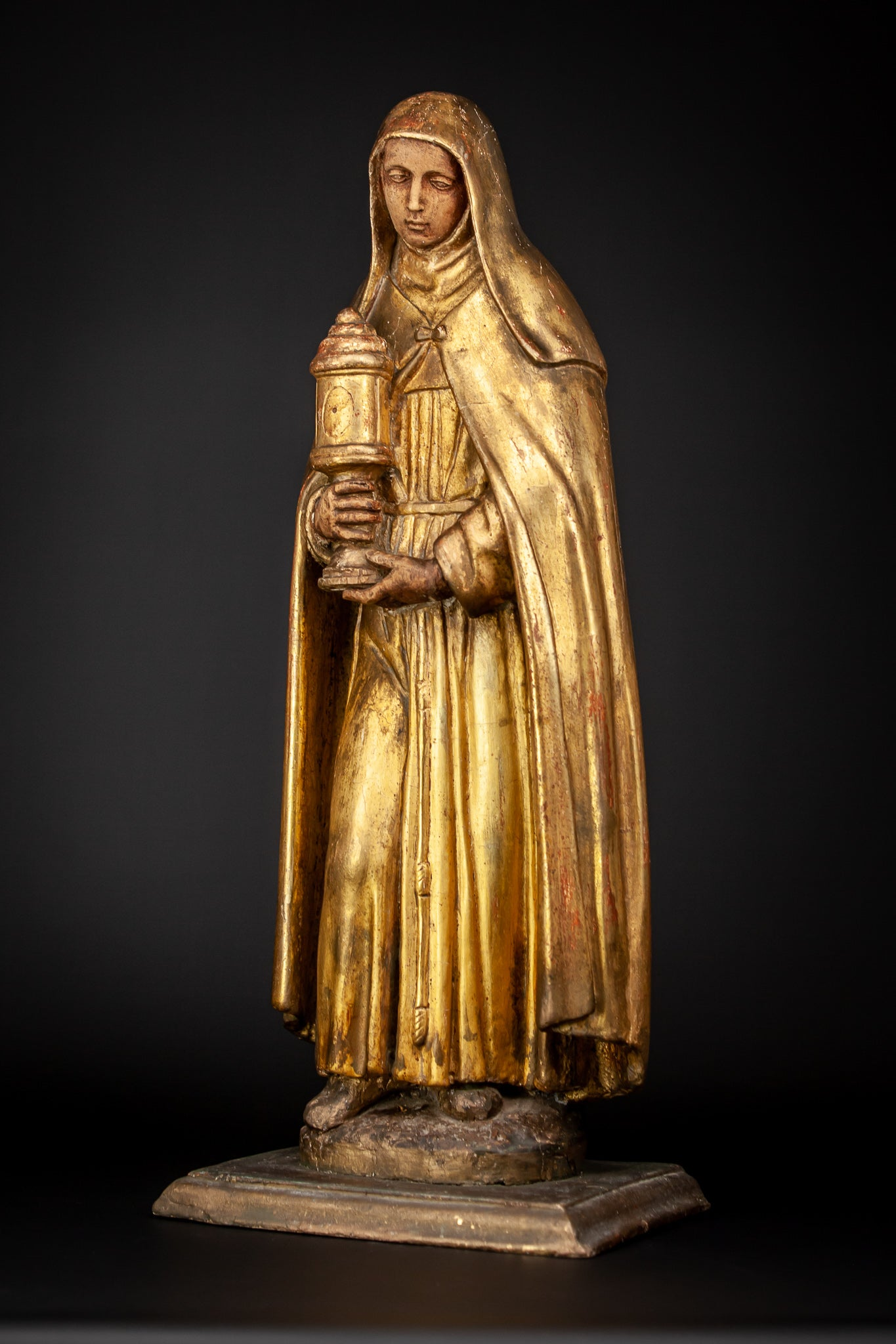 St Clare of Assisi Gilded Wood Statue 24""