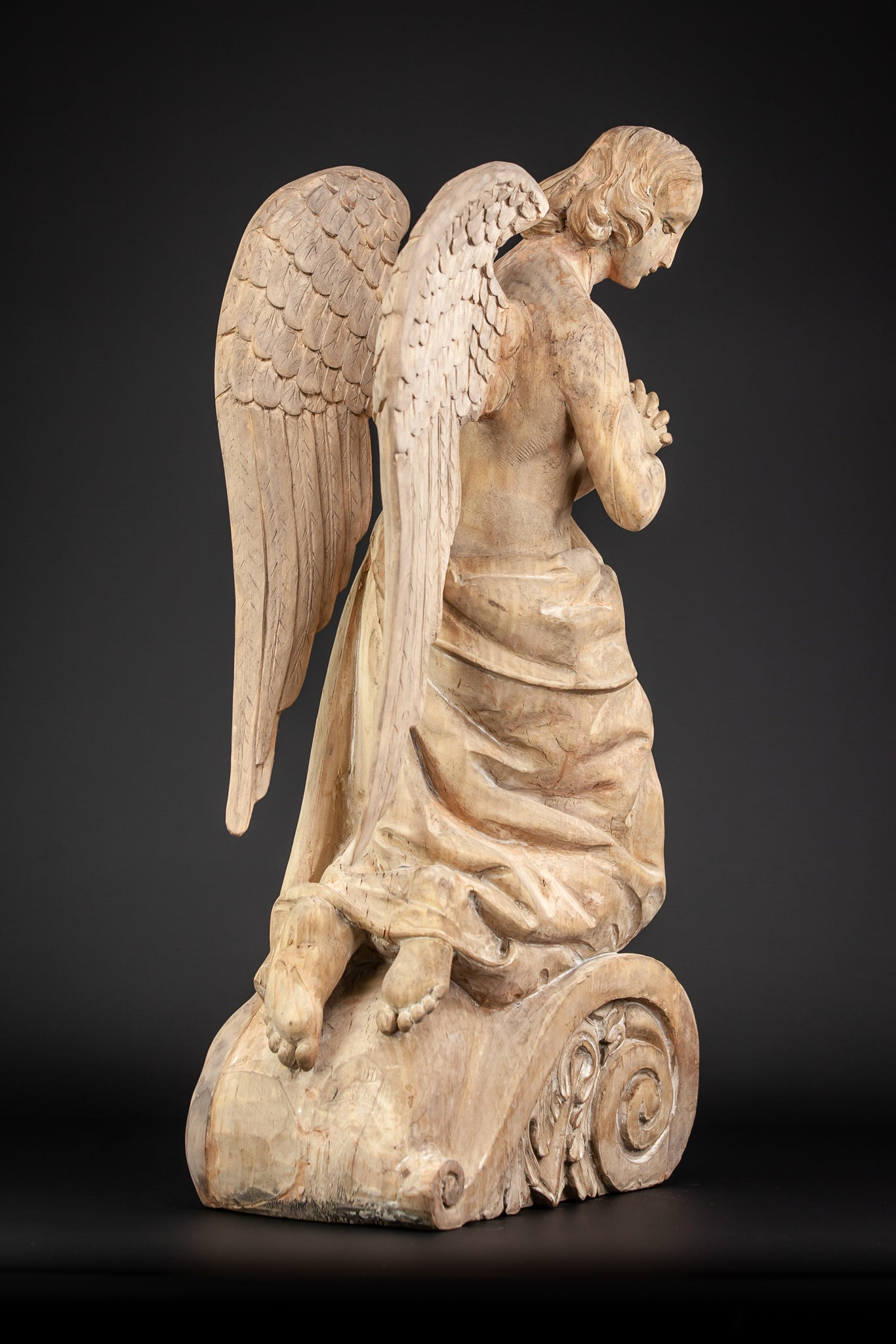Archangel Wood Carving 1600s / 1700s Wooden 23.2""