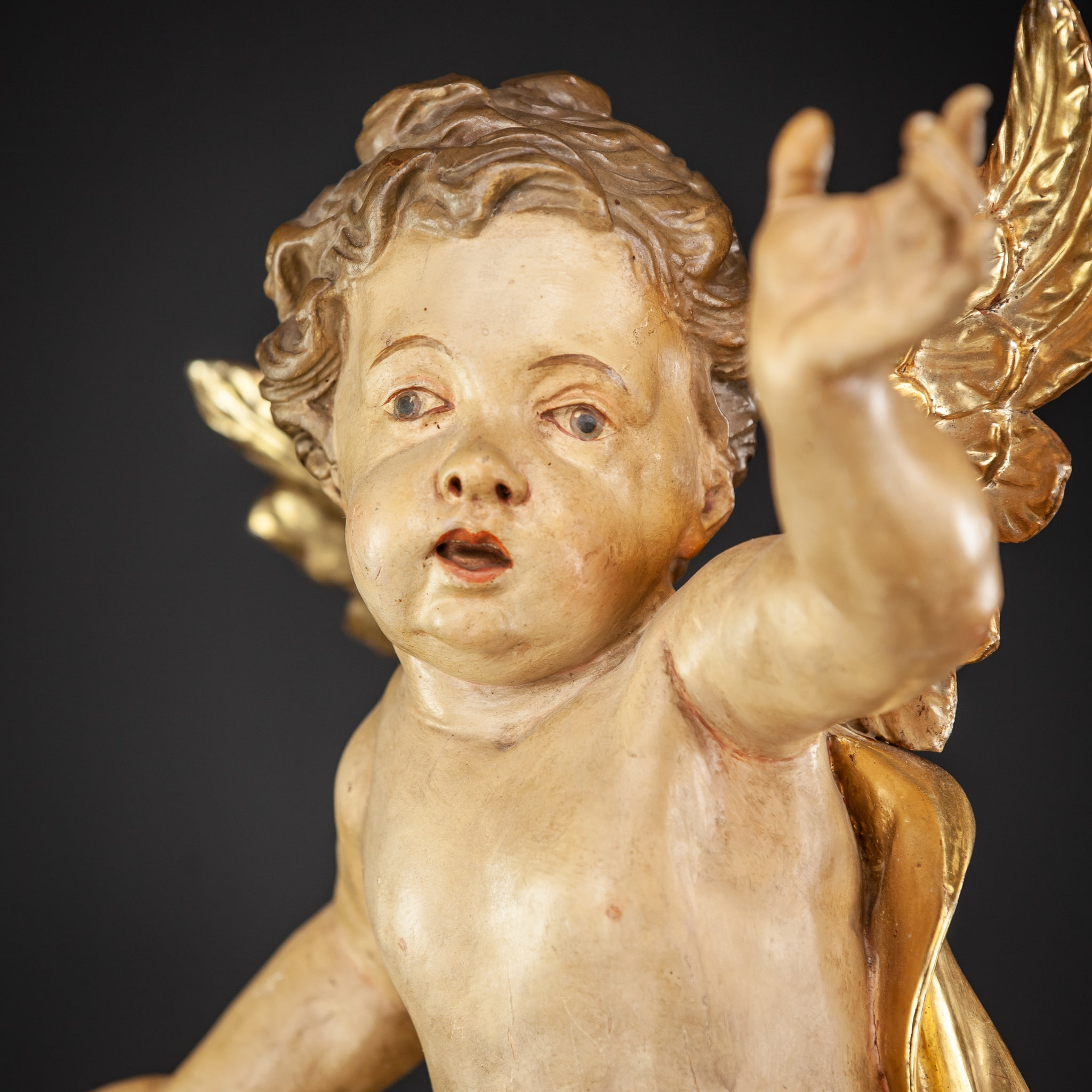 Baroque Angel Wood Carving Sculpture 20""