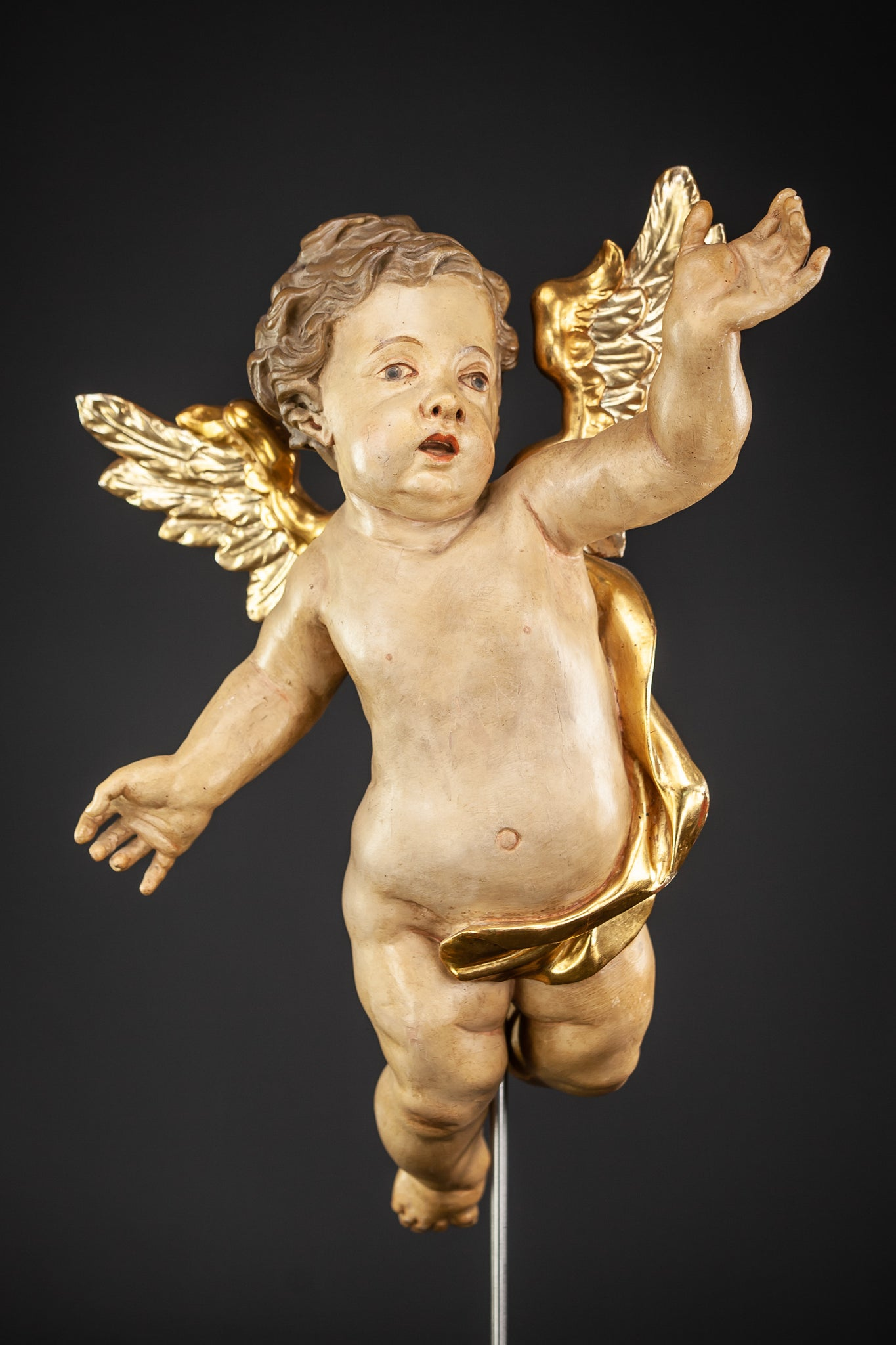 Angel Baroque Wood Carving Statue 20""