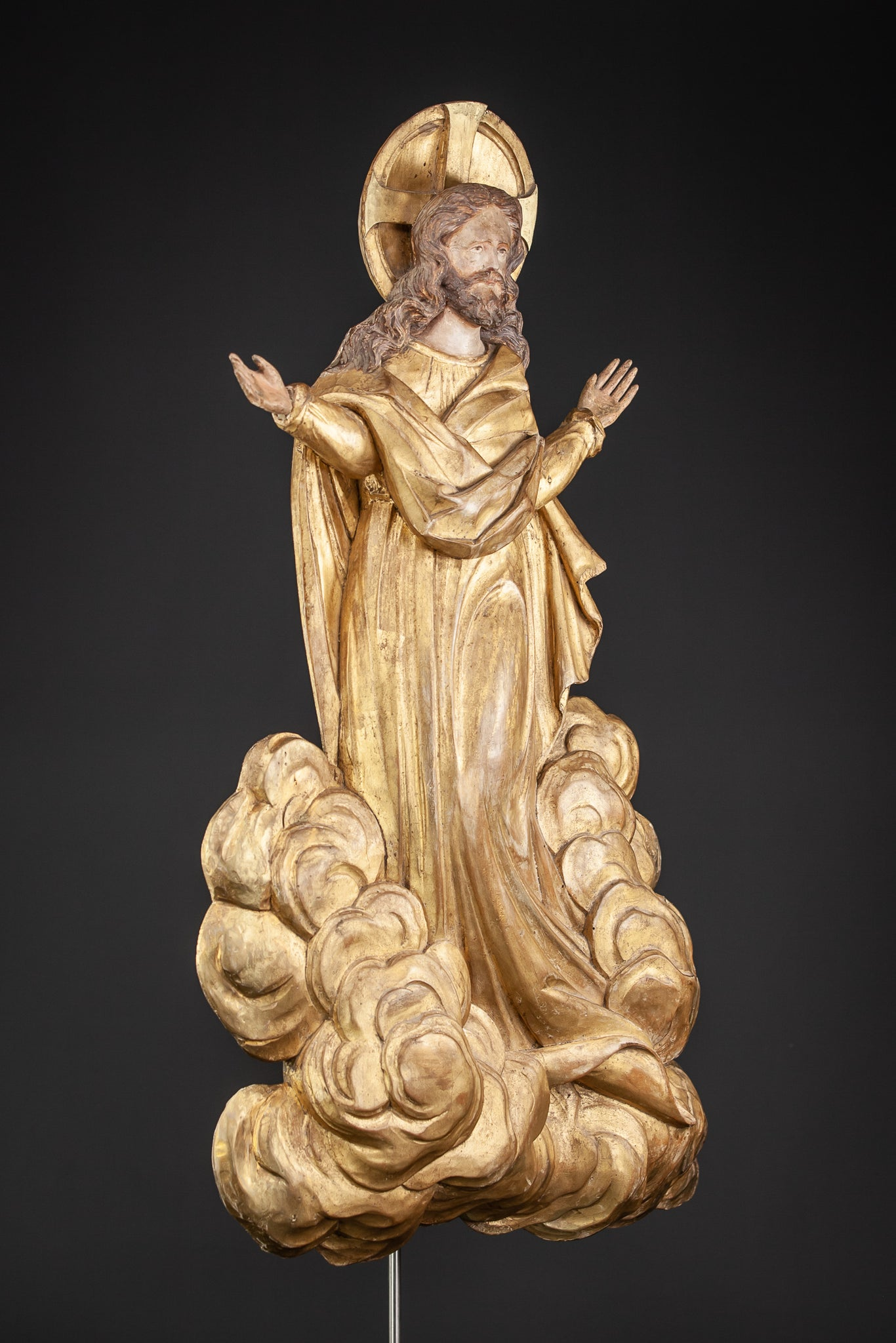 Ascension of Jesus Wood Carving 1700s Resurrection Statue 27.2""