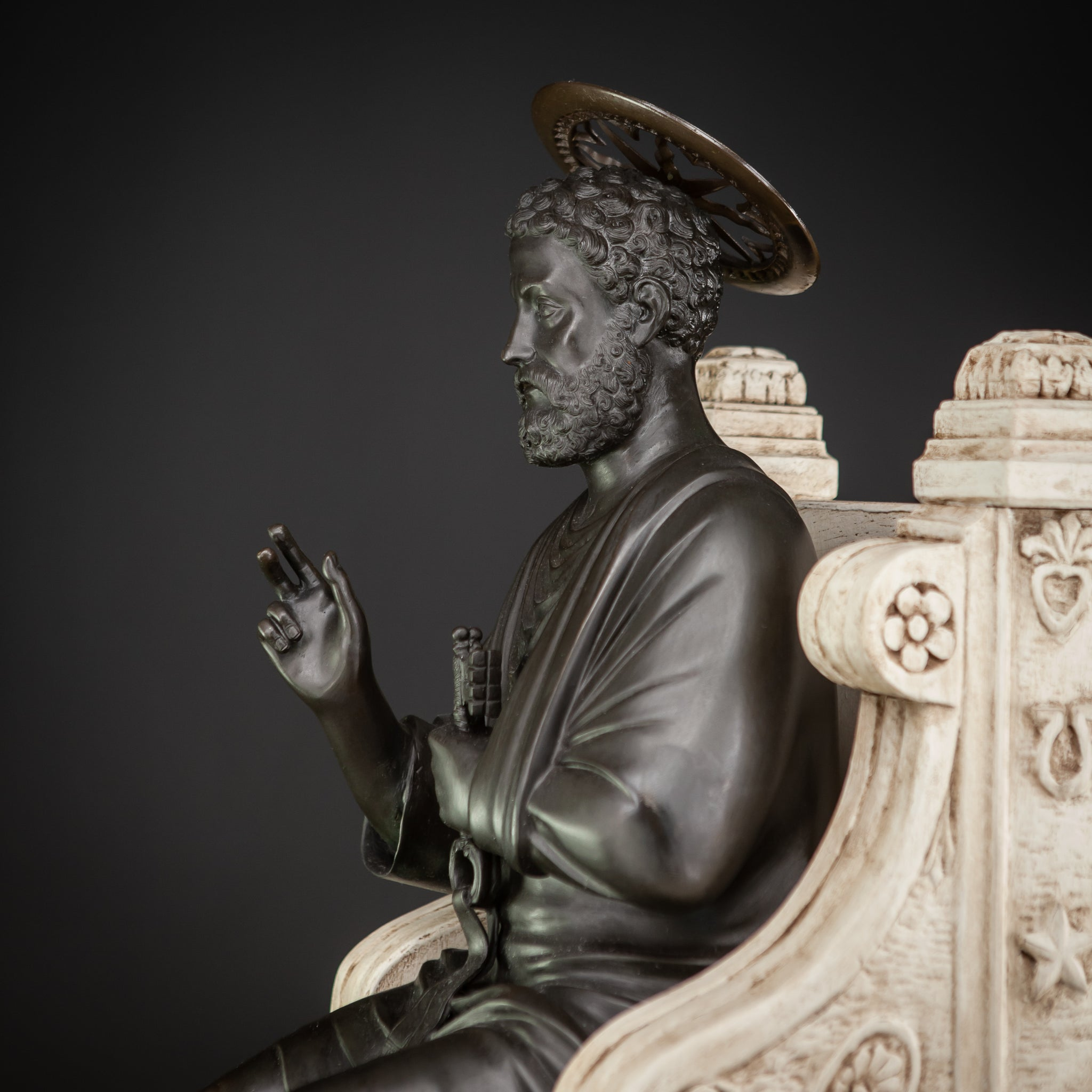 St Peter Bronze Sculpture on Wooden Chair 37.4""