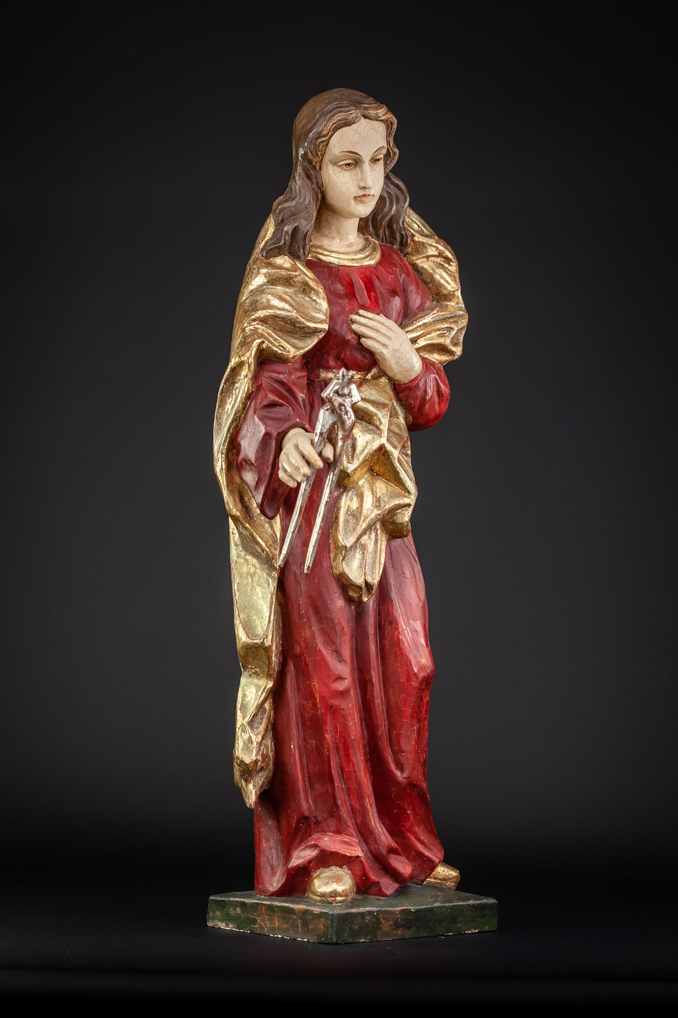 St Apollonia Wooden Sculpture 23.4""