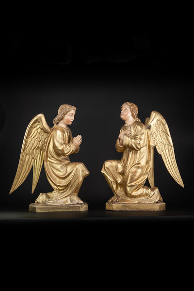 Angel Pair Wooden 18th / 19th Century Carving 23.6""